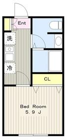 玉川学園7丁目アパート2階Fの間取り画像