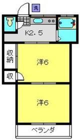 岡村荘2階Fの間取り画像