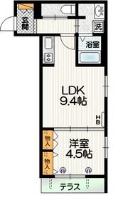 栄華マンション3階Fの間取り画像