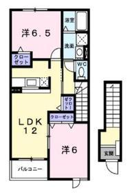 カーサアルドーレ2階Fの間取り画像