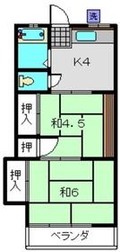 楠荘B棟2階Fの間取り画像