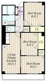 ヴィーナスヴィラ3階Fの間取り画像