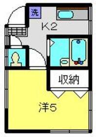 ひかり荘1階Fの間取り画像