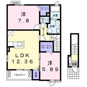 ヒルサイドハウスYH Ⅲ2階Fの間取り画像