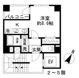 Azur勝どき4丁目2階Fの間取り画像