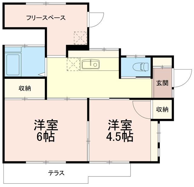芦川平屋戸建て貸家間取図