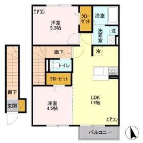 アケボノ Ⅱ2階Fの間取り画像