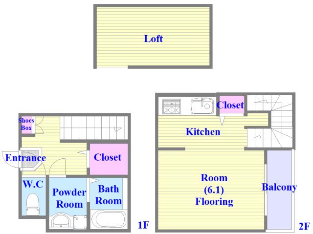 ハーモニーテラス西堤楠町 ロフト付きのメゾネットタイプのお部屋です。
