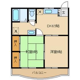 グレースマンションタジリ1階Fの間取り画像