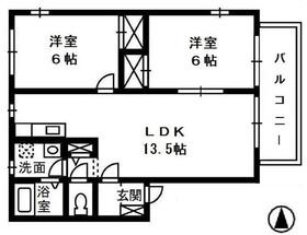 アイリー・ブランチ Ⅱ2階Fの間取り画像
