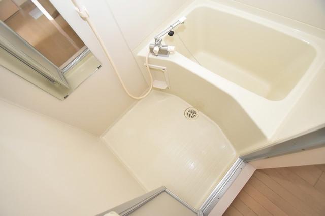 カインド高井田 ちょうどいいサイズのお風呂です。お掃除も楽にできますよ。