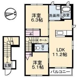 ハーレー2階Fの間取り画像