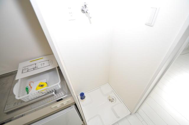 オズレジデンス長瀬 嬉しい室内洗濯機置場。これで洗濯機も長持ちしますね。