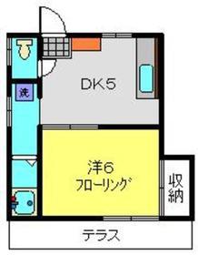 九十九沢アパート1階Fの間取り画像