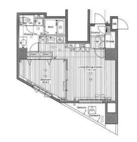 白金高輪駅 徒歩10分9階Fの間取り画像
