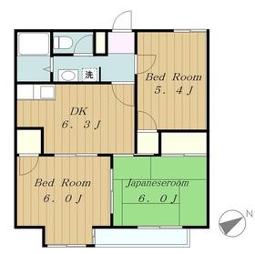 オーチャード・ヒルズ2階Fの間取り画像