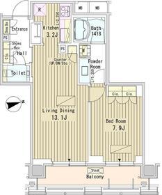 パークアクシス御成門18階Fの間取り画像