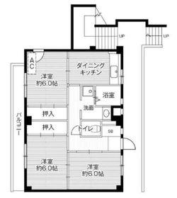 ビレッジハウス川井宿5号棟4階Fの間取り画像