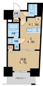 レジディア川崎4階Fの間取り画像