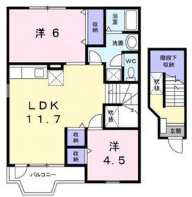 プリムローズⅠ2階Fの間取り画像