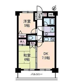 コスモ横浜大通り公園5階Fの間取り画像