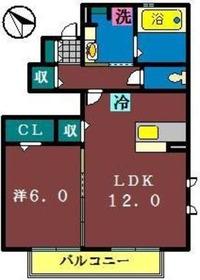ヴィラ・アムールⅡ(高津)1階Fの間取り画像