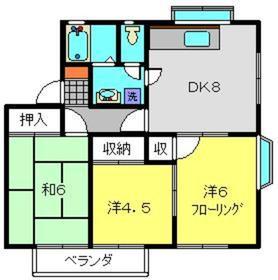 モアヒルズB棟2階Fの間取り画像