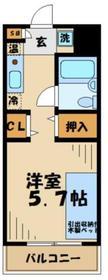 多摩学生マンション1階Fの間取り画像