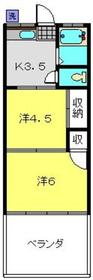 シママンションⅠ2階Fの間取り画像