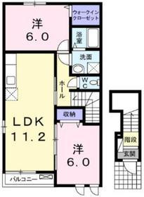 キャトゥルヒル二番館2階Fの間取り画像