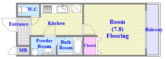 エスティームⅡ番館 広いリビング、独立キッチンなど、使い勝手の良い間取りです。