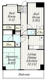 第20ナミキハイム7階Fの間取り画像