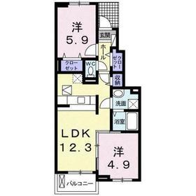高幡不動駅 徒歩25分1階Fの間取り画像