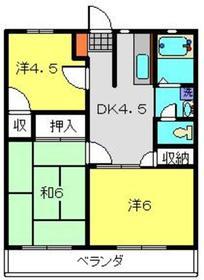 ハイツトクラ2階Fの間取り画像