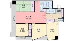エスポワール福岡12階Fの間取り画像
