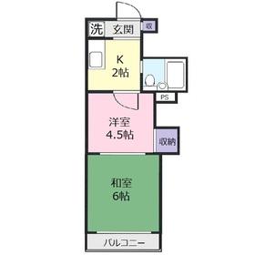 上福岡第2宝マンション2階Fの間取り画像