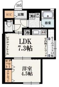 シェモア仙川弐番館1階Fの間取り画像