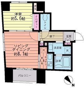 クロスフォー築地3階Fの間取り画像