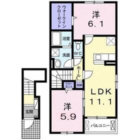 ヴィラジュ アルドーレ2階Fの間取り画像