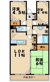 愛甲石田駅 徒歩15分2階Fの間取り画像