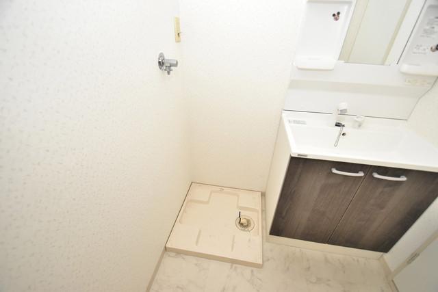 ファミール上小阪 嬉しい室内洗濯機置場。これで洗濯機も長持ちしますね。