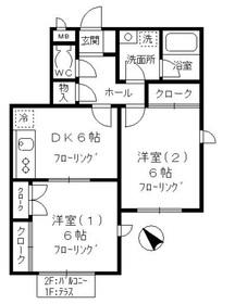 ハウスM・Ⅱ1階Fの間取り画像