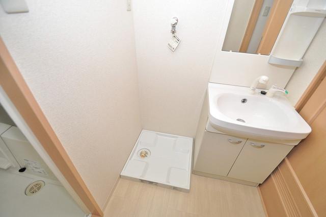 エスポワール永和 嬉しい室内洗濯機置場。これで洗濯機も長持ちしますね。