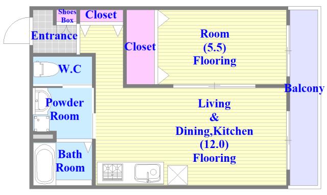 グロースコート弥刀 バストイレがセパレート、独立洗面所のある使い易い間取りです。