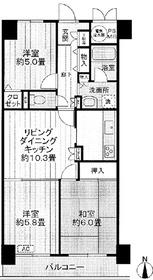 ライオンズマンション二俣川6階Fの間取り画像