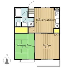 リバーサイドナカヤハイツ2階Fの間取り画像