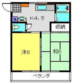 石原アパート2階Fの間取り画像