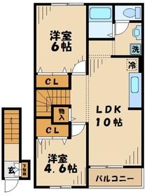 町田駅 徒歩18分2階Fの間取り画像