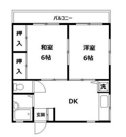 金子ハイツ2階Fの間取り画像