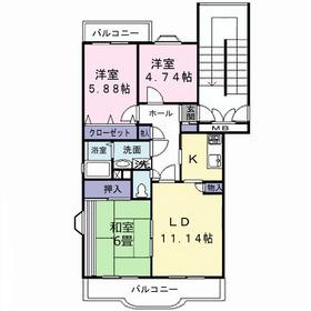 メルベーユ・キャニオン2階Fの間取り画像